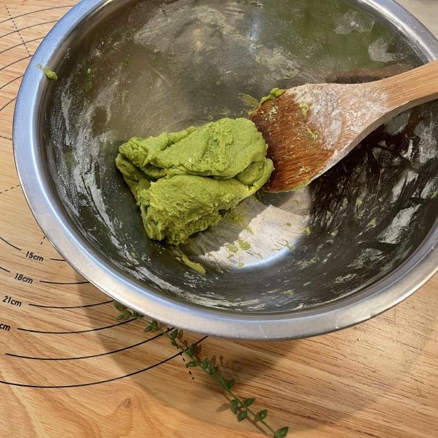 焼き上がりが秋を感じる抹茶のメロンパン3